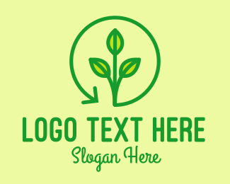 Sustainable - Green Recycling Plant logo design