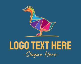 Transformation - Colorful Geometric Duck logo design