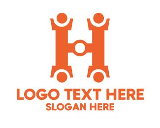 Home Service - Orange Hardware Letter H logo design