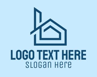 Real Estate - Blue House Chimney  logo design