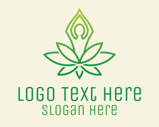 Therapist - Green Yoga Plant logo design