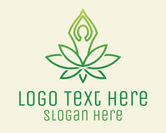 Bush - Green Yoga Plant logo design