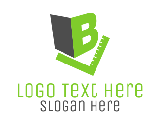 Student - Letter B & Green Rule logo design