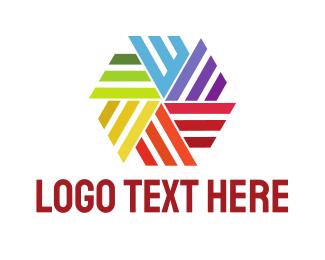 Color Wheel - Colorful Hexagon Pinwheel  logo design