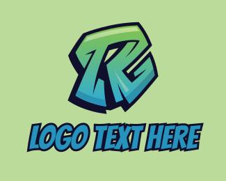 Street Art - Street Graffiti Letter R  logo design