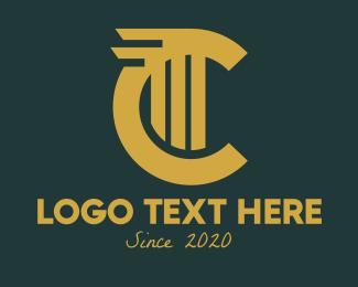 Concrete - Gold Letter C logo design