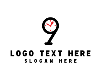 Wrist Watch - Clock Number 9 logo design