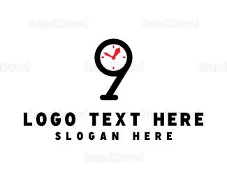 Second - Clock Number 9 logo design