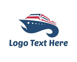 Cruise Ship - Blue Ship logo design
