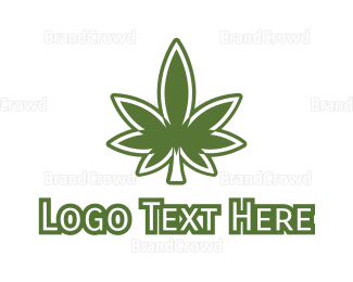 Marijuana Leaf - Green Marijuana Outline logo design