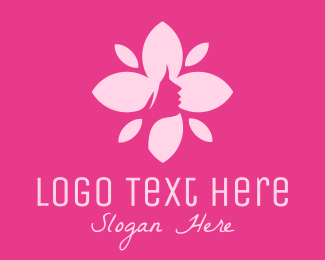 Beautify - Pink Female Flower  logo design