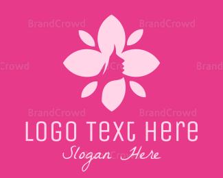 Beautify - Pink Female Flower  logo design