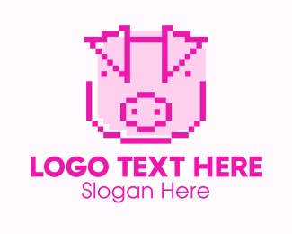 Hog Raising - Pink Pixelized Pig logo design