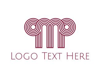 Antique - Greek Letter M logo design