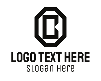 Octagon - Black Octagon Letter B logo design
