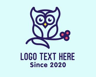 Wisdom - Cute Purple Owl logo design