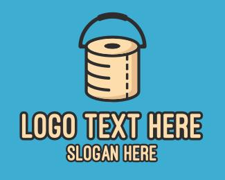 Poo - Toilet Paper Bucket logo design