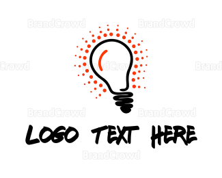 Bulb - Red Glow Bulb logo design