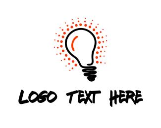 Lightbulb - Red Glow Bulb logo design