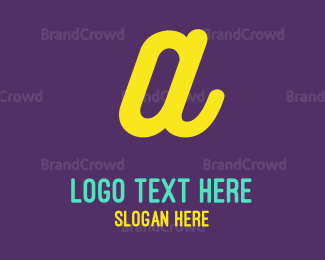 Purple And Yellow - Neon Yellow Letter A logo design