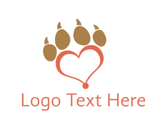 Canine - Red Paw Heart logo design