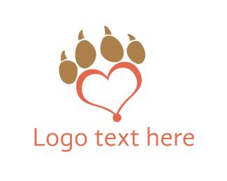Hand - Red Paw Heart logo design