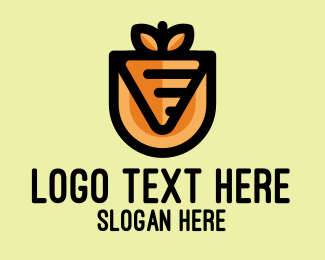 Eggplant - Orange Vegetable Carrot  logo design