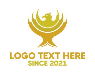 Gold Falcon Emblem Logo