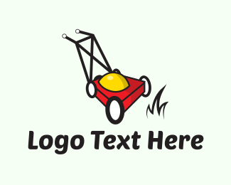 Grass - Red Lawnmower logo design
