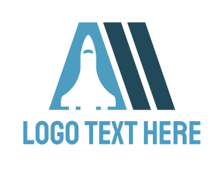 Blue Rocket - Spaceship Letter A logo design