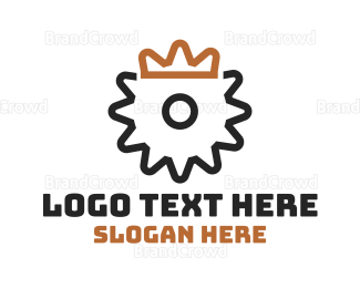 Engineer - Gear Crown Outline logo design