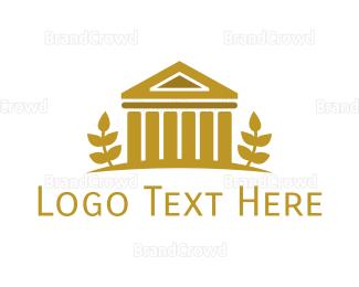 European - Gold Vintage Coliseum  logo design
