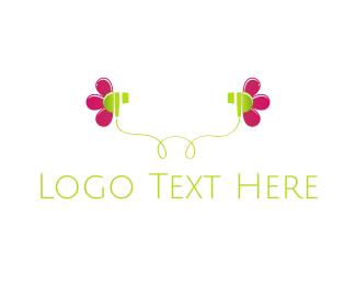Audio - Flower Earphones logo design