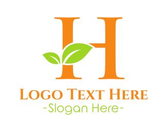 Letter H - Eco Letter H logo design