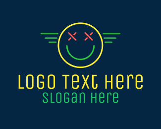 Smiley Face - Neon Smiling Wings logo design