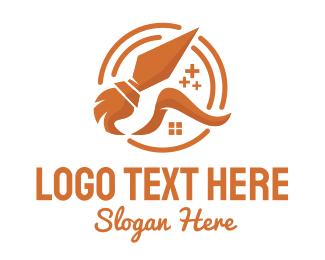 Home Service - Orange House Cleaning Service  logo design
