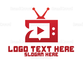 Red And White - Red TV Player App logo design