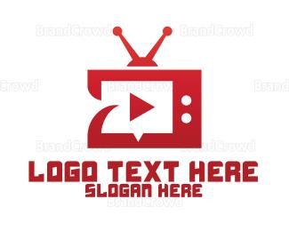 Player - Red TV Player App logo design