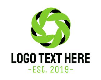 Futuristic Green Flower Logo
