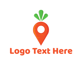 Orange Vegetable - Carrot Locator logo design