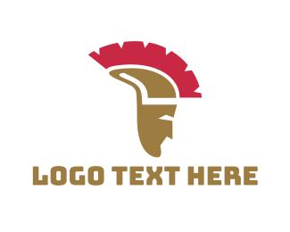 Defend - Greek Helmet logo design