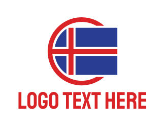 Viking - Circle Iceland Flag logo design