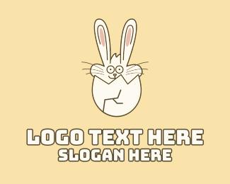 Egg Hunting - Bunny Rabbit Cracked Egg logo design