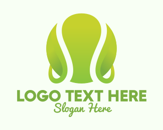 Tennis Ball - Green Tennis Ball Leaf logo design