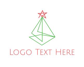 Green And Red - Minimalist Christmas Tree logo design