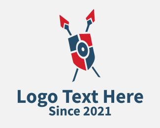Defense - Shield & Spears logo design