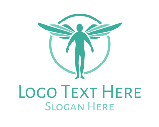 Heavenly - Teal Archangel logo design