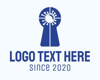 Keyhole - Blue Virus Keyhole logo design