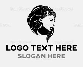 Burning Man - Steampunk Woman logo design