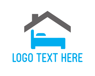 Hostel - Blue Bedroom logo design